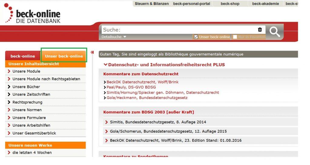 Screenshot Beck Online